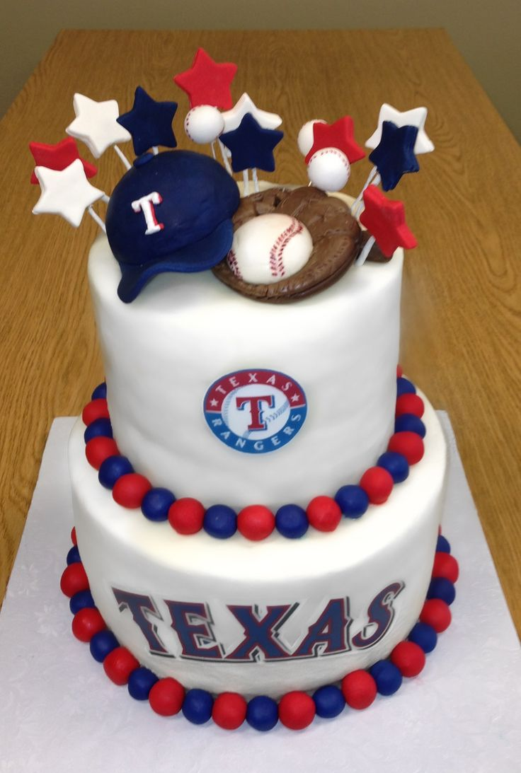 Texas Rangers cake designed & decorated by Anna Hernandez of The Pink Bakery Box