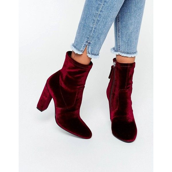 Steve Madden Editt Velvet Sock Heeled Ankle Boots ($86) ❤ liked on Polyvore featuring shoes, boots, ankle booties, red, red ankle boots, block heel booties, steve madden booties, bootie boots and high heel boots