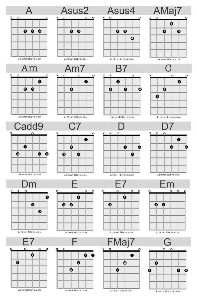 20 Essential Guitar Chords For Beginners Life In 12 Keys Guitar Chords Beginner Guitar Chords Guitar Chords For Songs