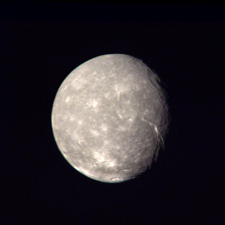 Titania, Moon of Uranus, taken by Voyager 2, January 24, 1986.