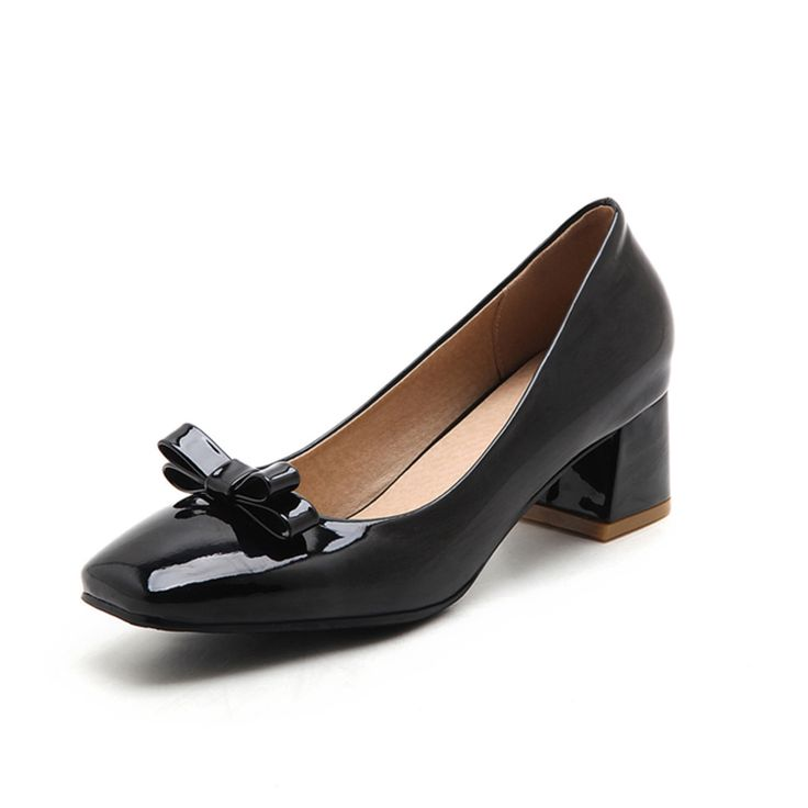 >> Click to Buy << Big size 34-46 women shoes sandals square heel pumps patent leather shoes women Spring/Autumn Butterfly-knot Wedding women pumps #Affiliate