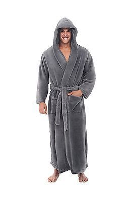 a52290d9e8 Del Rossa Men s Fleece Robe Long Hooded Bathrobe Steel Grey Large X-Large