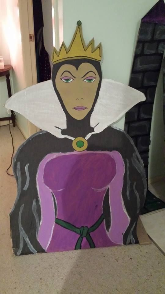Grimhilde, Evil Queen from Snow white:  A prop made to immerse my students into a fairy tale theme unit.  The basic image was taken from google and alterations were made as I went.  She was painted on a fridge box, that I obtained from the local good guys.