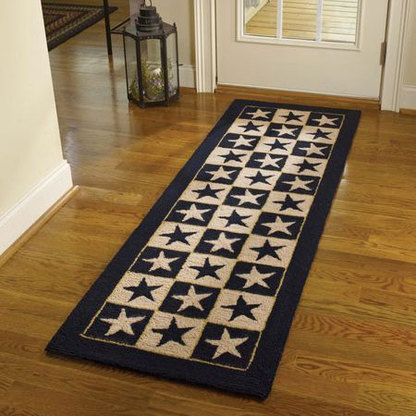 Black Star Hooked Rug Runner Black Star
