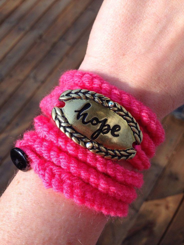 Crochet Wrap Bracelet - Pink Hope Bracelet - Affirmation Bracelet - Inspirational Jewelry by AJacksBoutique on Etsy https://www.etsy.com/ca/listing/525116919/crochet-wrap-bracelet-pink-hope-bracelet