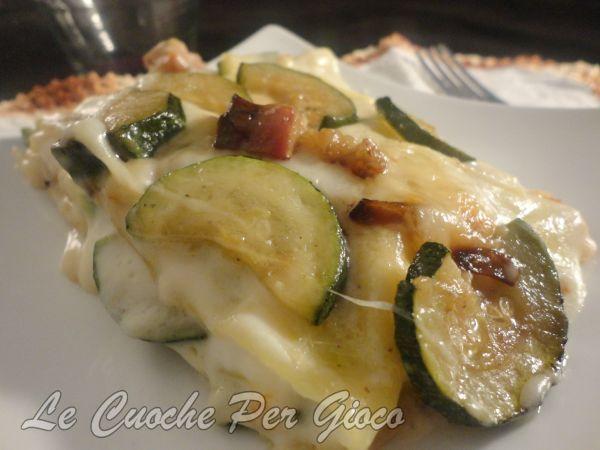 Lasagne ai Formaggi con Zucchine e Pancetta