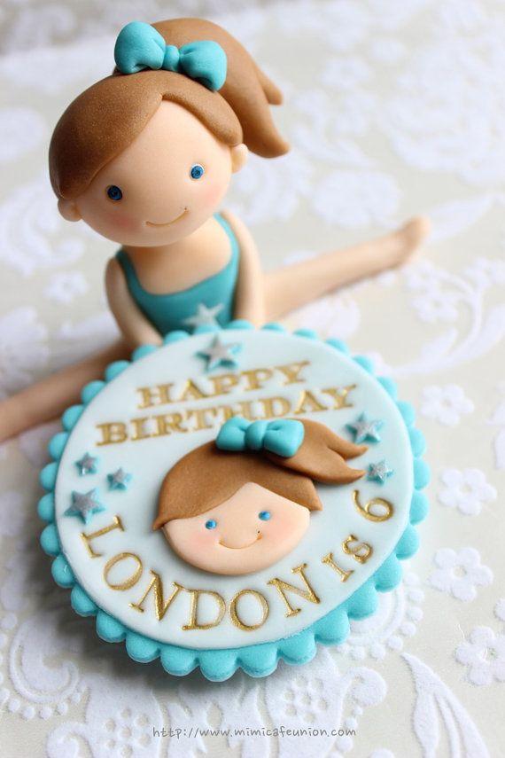 Gymnastic Girl Fondant Cake Topper  1 Girl 1 by mimicafeunion,
