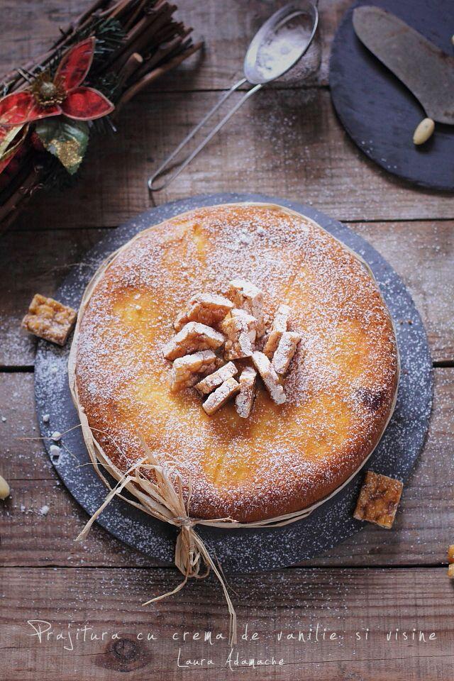 Prajitura cu crema de vanilie si visine, reteta simpla si rapida de prajitura cu crema. Ingrediente si mod de preparare prajitura cu visine.