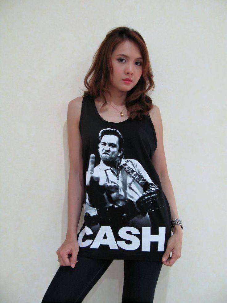 Johnny Cash Middle Finger Women's T-Shirt Sleeveless Vest Graphic Tee Black Sz M #HOTROCK #GraphicTee