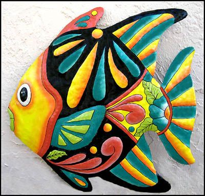 "Tropical Fish Hand Painted Haitian Metal Outdoor Garden Wall Art - Yellow & Turquoise - 24' X 24""   - See many more tropical decorating ideas at www.TropicDecor.com"
