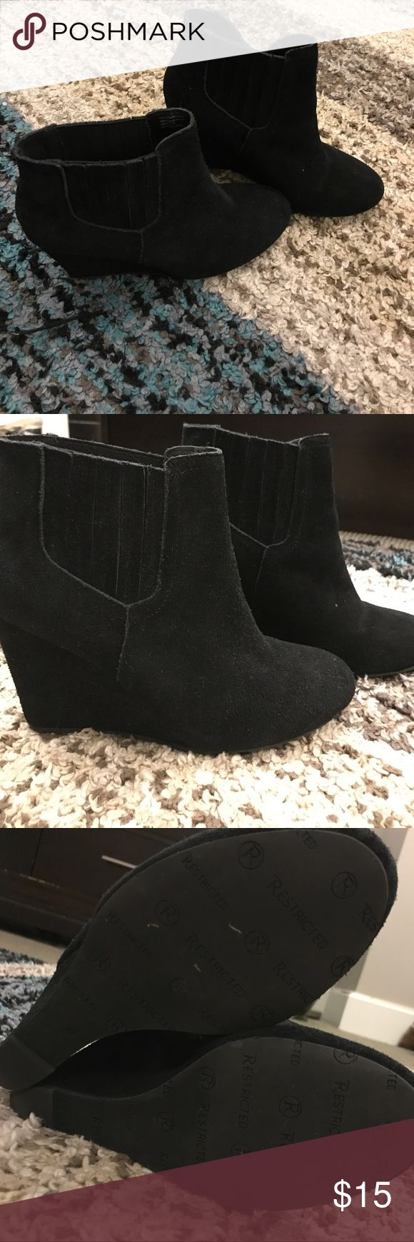 "Restricted Faux Suede Booties Cute wedge booties, just shy of 4"". Worn a couple of times, good used condition. Restricted Shoes Ankle Boots & Booties"