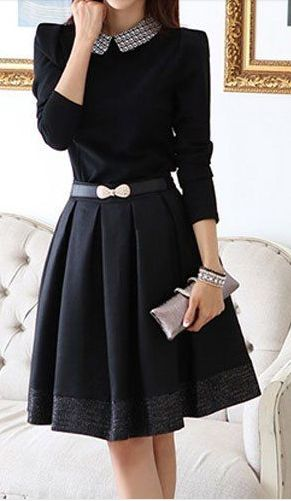 belted collared dress
