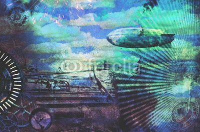 Vintage steampunk design background with clouds, airship, clocks, fireworks and steam engine elements. Grunge textured digital photo illustration. Blue tones.
