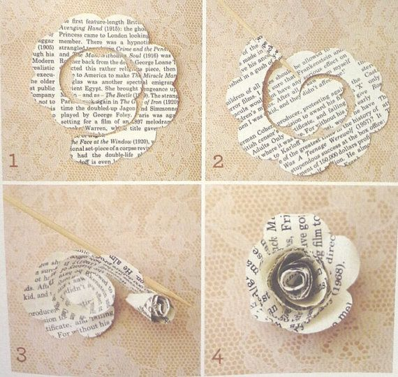 vintage sheet music diy roses 50 die cut paper roses paper ephemera paper - Book Page Decorations