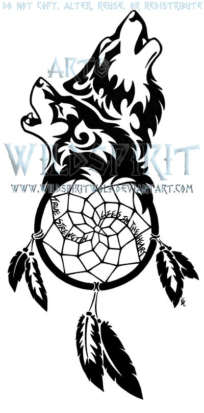 Dream catcher and wolf tattoo <3