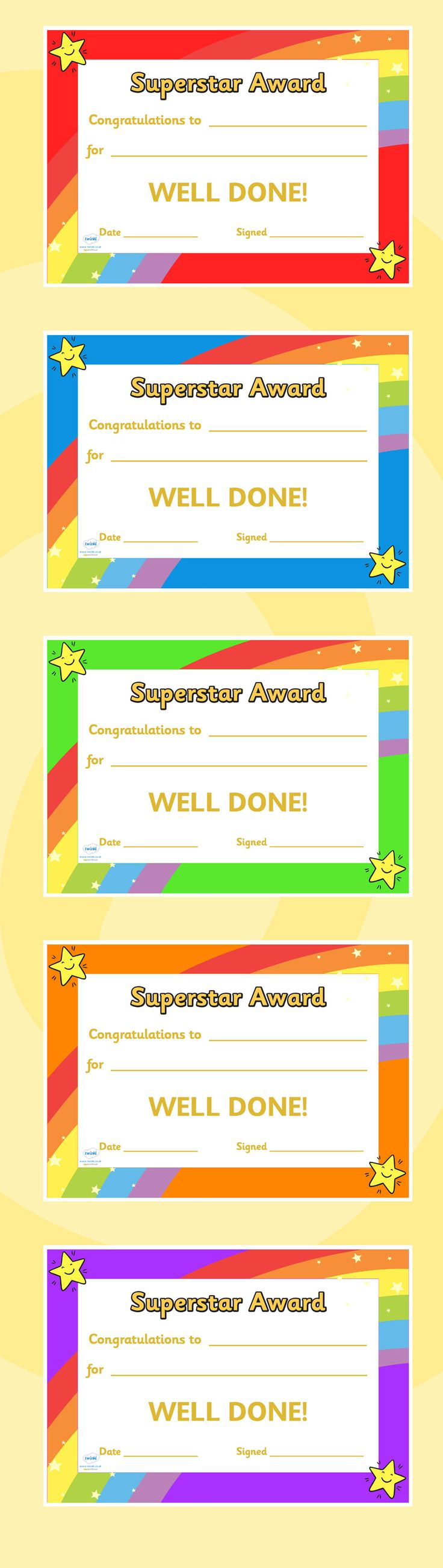 Superstar Award Certificates