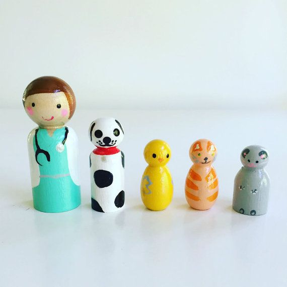 Hey, I found this really awesome Etsy listing at https://www.etsy.com/listing/275280890/small-vet-with-animalswooden-peg-dolls