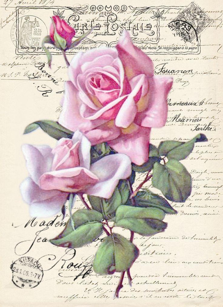 Vintage rose Digital collage p1022 free to use ♥