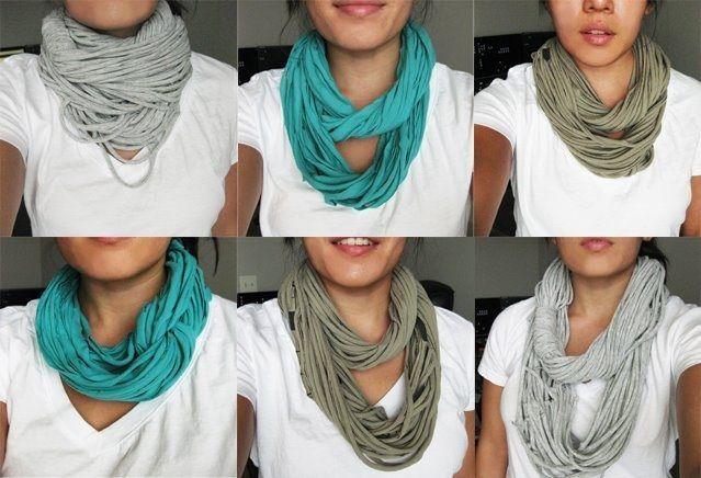 Conseils de mode, créer, fabriquer et faire un foulard avec un tee shirt ancien. Coudre et découper un vieux vêtement pour en faire un foulard en coton.