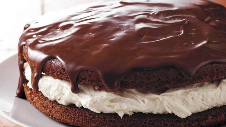 Looking for a chocolaty dessert using Betty Crocker® SuperMoist® cake mix? Then try this luscious cake that's topped with ganache and filled with marshmallow creme.