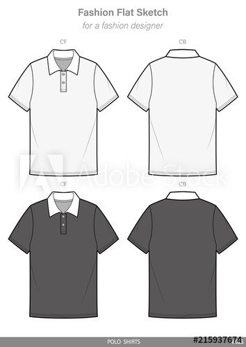POLO SHIRTS FASHION FLAT SKETCHES technical drawings teck pack Illustrator  vector template 57bbaf198311e
