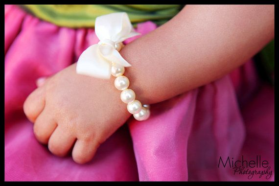Little Girl Pearl Bracelet with ribbon for first pearls