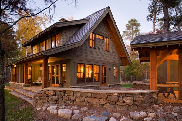 exterior - cedar, rock, large beams