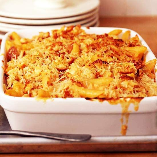 Chicken Mac and Cheese        Add some heartiness to this comfort food classic with boneless chicken breast halves and sourdough bread crumbs. The result is irresistible.