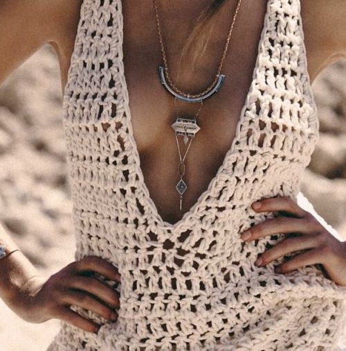 low cut crochet v-neck tank // double crochet. This would make and adorable crochet swim suit coverup!