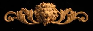 Wood Carved Lion - Onlay Applique - Wide Roaring with Scrollwork