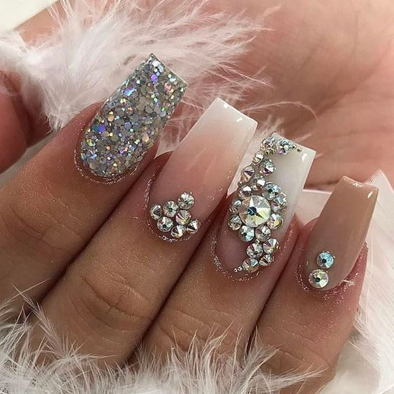 nail art designs | acrylic ideas 2017 | best | #rhinestones | coffin |  diamonds | jewels | gems | pink | sliver glitter - Nail Art Designs Acrylic Ideas 2017 Best #rhinestones Coffin