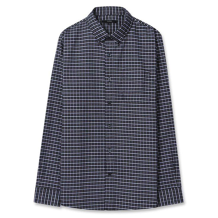 Topten10 Unisex Little Black Checks Formal Oxford Buttondown Cotton Dress Shirts #Topten10