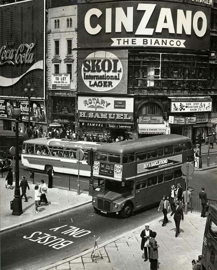 On 14 May 1973, Piccadilly Circus established its first 'Buses Only' lane - pictured here on its inaugural day of operation.