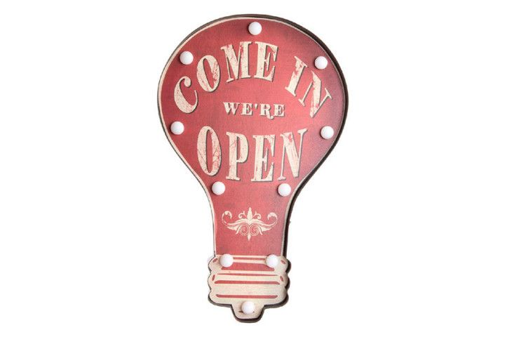 "Cartel Bombilla Led ""Open"" – Zap+Zap – Decoración – Regalo – Antigüedades. Salamanca."