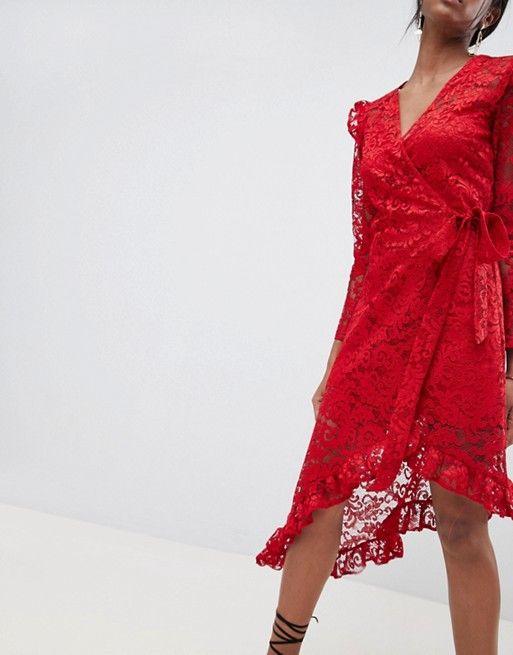 433cc9382d00 DESIGN wrap lace dress with asymmetric hem