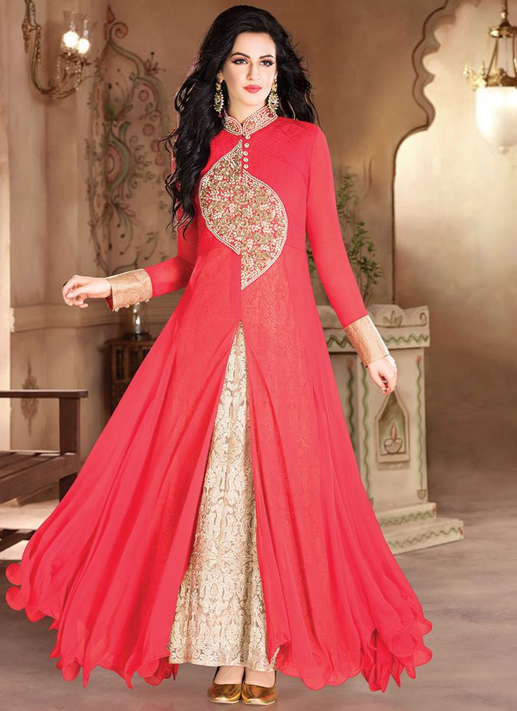 Red Georgette Layered Anarkali Gown