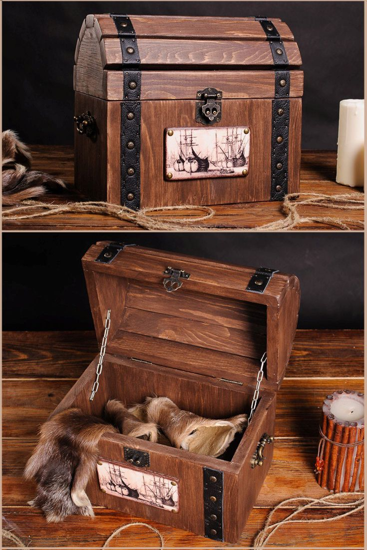 Treasure chests Storage trunk wooden pirate chest Wood Trunk Storage Box With Lid Jewelry Rustic Living Kids Room Pirate Party