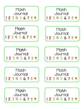 Free Math Journal label