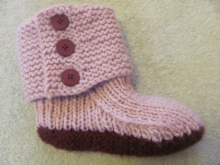actual knitted slipper boots | by the length you knit. Creates pattern to hand knit slipper boots ...