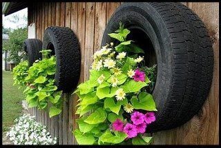 Upcycled & Recycled Tires garden planters mounted