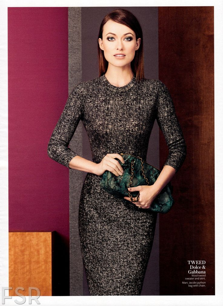 Olivia Wilde, photographed by Giampaolo Sgura for InStyle, August 2013. - Dolce & Gabbana wool tweed sweater and skirt with Marc Jacobs python bag.
