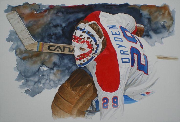Goalie Ken Dryden By Watercolour Artist Glen Green