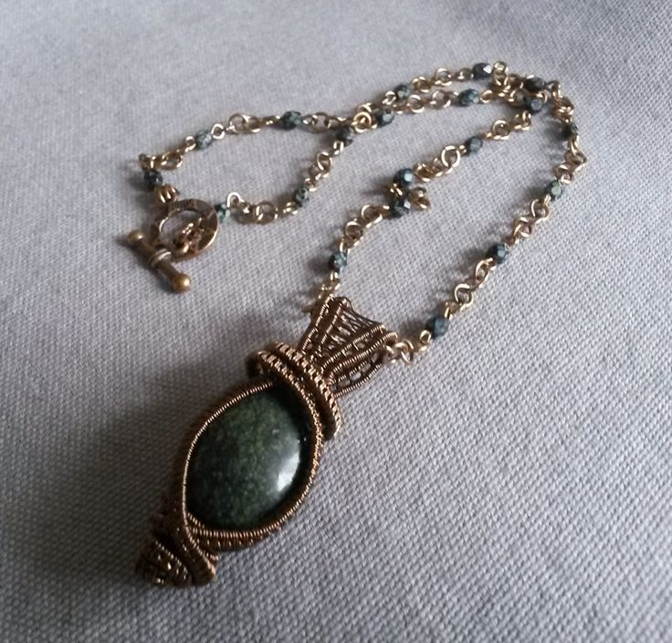 Handcrafted wire wrapped gemstone necklace - Green and vintage wire wrapped necklace with Russian Serpentine by IMKdesign on Etsy