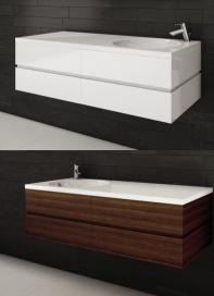 """Vanités salle de bain de la <Série AXE> 48"""" avec lavabo intégré - AQUA MOBILIA. Disponible chez Montréal - Les - Bains"""