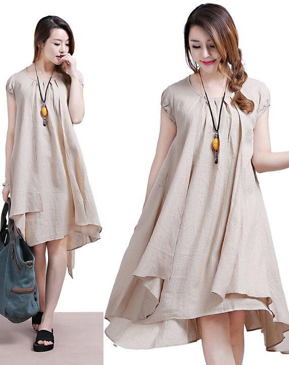 beige Linen short sleeve dress bunk / fold loose round by dreamyil