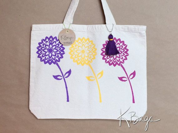 Hand-Painted Canvas Tote Bag  Flowers by KristiBags on Etsy