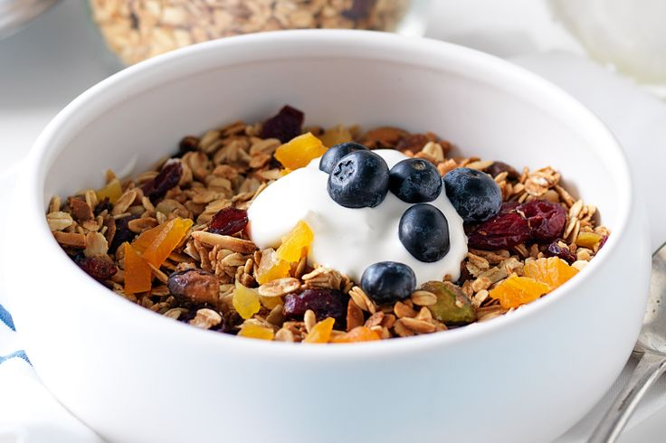 Bored with your usual muesli? Try this homemade version —  packed full of healthy oats, nuts, seeds and fruit, plus it has lashings of sticky maple syrup. Try it with yoghurt and fresh blueberries.