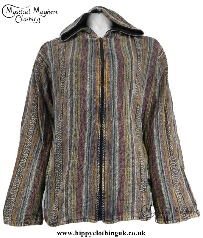 Gringo Cotton Over Dyed Hippy Festival Jacket with Fleece Lining Black
