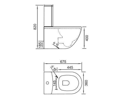 Maderno Signature Standard Close Coupled Toilet - V30121193HTC tech_drawing square medium