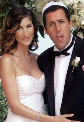 Adam Sandler and Jackie Titone were married at a private estate in Malibu, California. The couple's two bulldogs, Meatball and Matzo Ball, were part of the Jewish ceremony. A reception followed where guests enjoyed video games, a basketball hoop, dinner by Wolfgang Puck and Krispy Kreme donuts as favors.